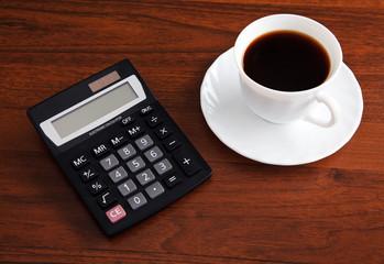 calculator and  cofee