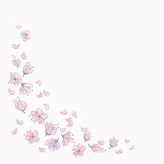 Fallende Blüten und Blütenblätter