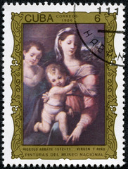 "Stamp shows the ""Virgin and Child"", by Niccolo Abbate"