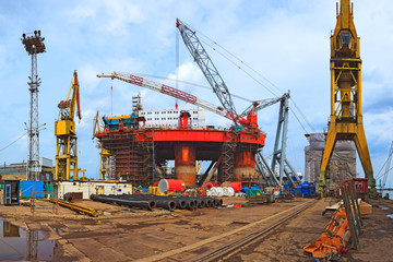 Industrial view - Gdansk shipyard and industrial area.