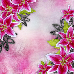Frame background with lily flowers