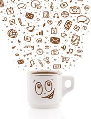 Coffee-mug with hand drawn media icons