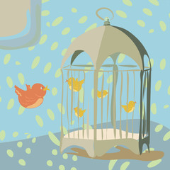 Recess Fitting Birds in cages Vintage bird cage with birds inside