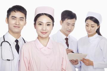 Portrait of Healthcare workers, doctors and nurses, studio shot