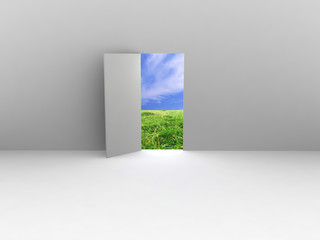 Exit with door to natural landscape. Concept - echo house.