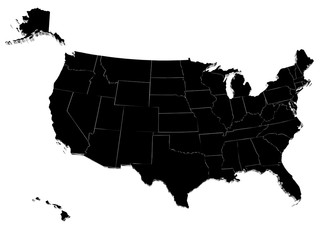 Map of USA. 3D render. Include Hawaii and Alaska.