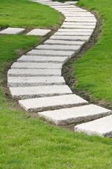 Curved garden walkway