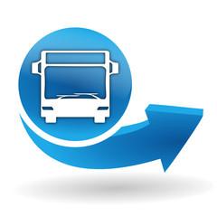 Fototapete - bus sur bouton web bleu