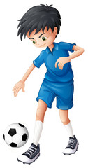 A soccer player in his complete blue uniform