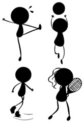 Silhouettes of people playing with the different sports