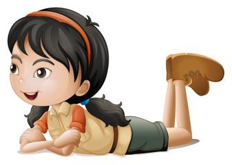 A girl lying down