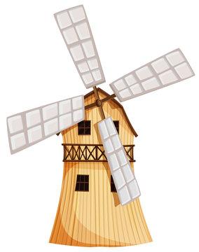 A wooden windmill