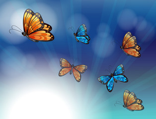 Fotorolgordijn Vlinders Colorful butterflies in a gradient colored stationery