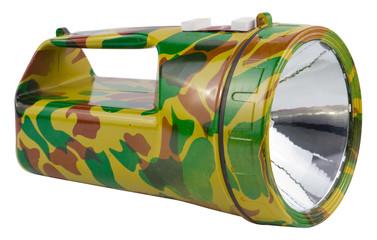 Big camouflage military flashlight on white background