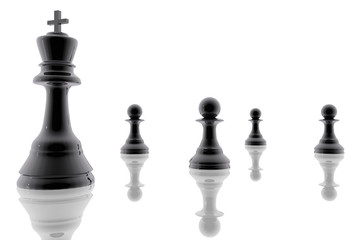 Chess king and pawns