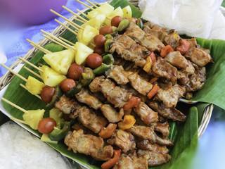 Barbecue on banana leaf
