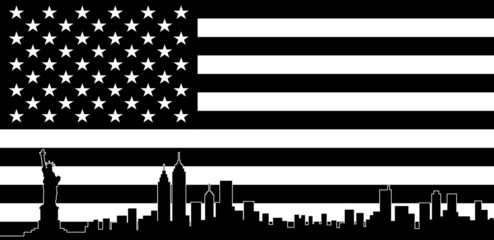 USA Black Flag New York City Vector Skyline