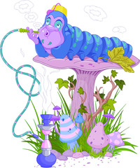 Garden Poster Magic world The Blue Caterpillar