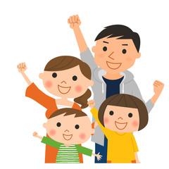 4人家族-やる気(背景なし)