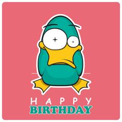Greeting card with cute cartoon duck.