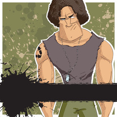 Strong character on a dirty background. Vector.