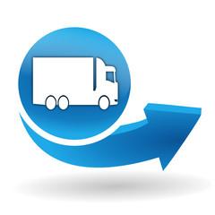 Fototapete - camion sur bouton web bleu