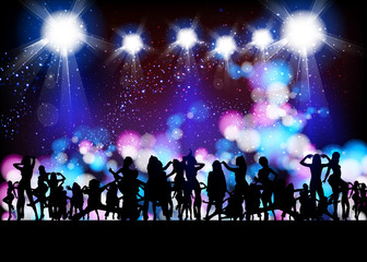 Party Vector, banner neon light stage background