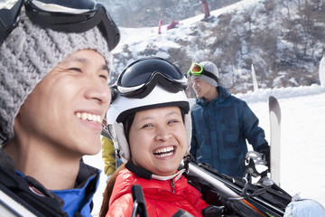 Smiling Couple in Ski Resort
