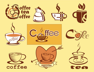 Coffee , logotype , menu .  icons .