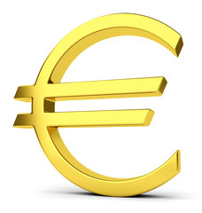 Golden euro sign isolated on white