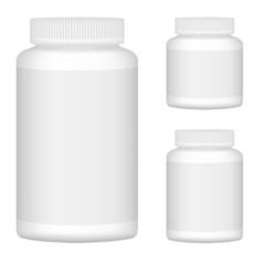 White Blank Plastic Bottle Set For Packaging Design. Set 1. Vect