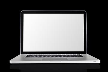 Laptop isolated on black background