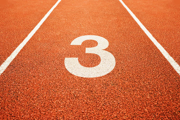 number three on running track