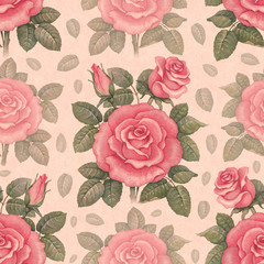 Seamless pattern with watercolor rose illustrations