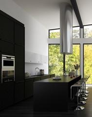 Modern Design Kitchen Interior with Bar