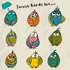 Set of 9 funny cartoon birds.