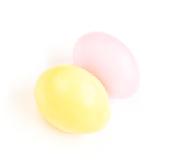 Two Colored  Easter eggs on white background