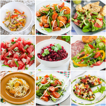 Collage of healthy salads