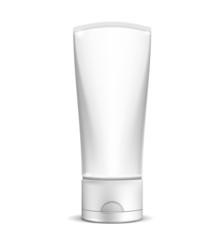 Blank white cream tube or cosmetic bottle