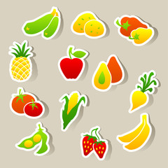 Set of fruit and vegetables stickers.