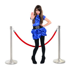 nice girl near red rope barrier, stops someone with stop gesture