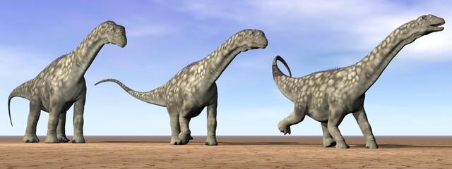 Argentinosaurus dinosaurs in the desert - 3D render