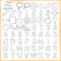 Hadwritten symbols and signs, alphabet