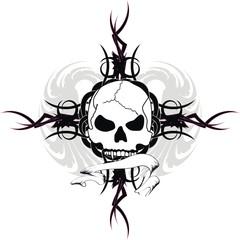 skull tribal tattoo vector1