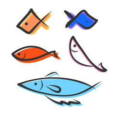 hand drawing icon fish