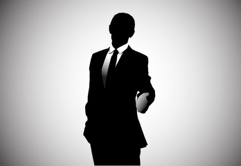 Vector image of a businessman holding thumbs up. AI CS.
