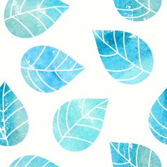 Seamless leaves background. Watercolor leaves pattern