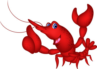 vector illustration of cute red shrimp cartoon thumb up