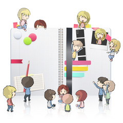 Kids around open white notebook with several elements inside.
