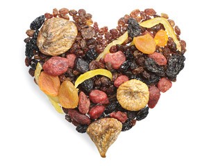 Different dried fruits in the shape of hearts